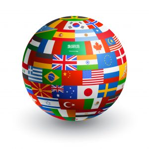 43266315 - a 3d globe composed by the flags of the most important countries in the world