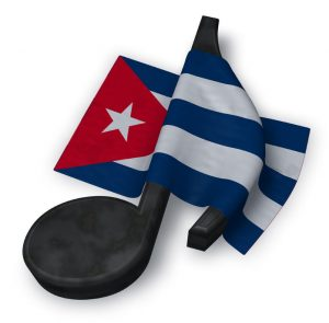 75731723 - music note symbol and flag of cuba - 3d rendering