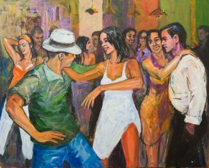 73593940 - artistic work of painting representing salsa and bachata dancing croud night entertainment.