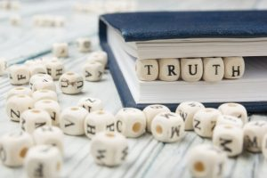 truth word background on wood blocks. Wooden Abc.
