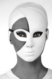10087029 - portrait of a beautiful black girl with white mask