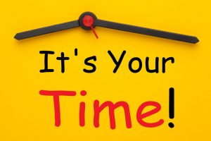 It's Your Time text with yellow clock. Business concept